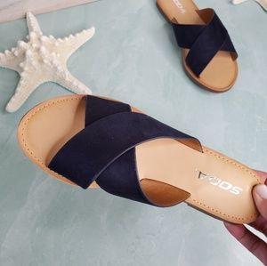 New! Navy Blue Criss Cross Sandals